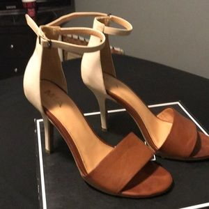 Gorgeous brown and tan heels  with ankle straps